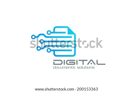 Business Technology vector logo design template. Web solution circulation system. Electronic Digital Document File data transfer concept idea. - stock vector