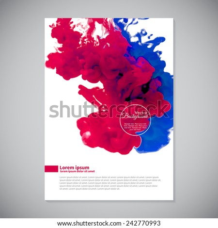 Business template with pink and blue ink swirling in water - stock vector