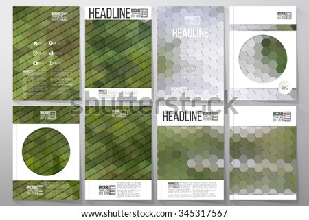 Business templates for brochure, flyer or booklet. Nature landscape. Collection of abstract multicolored backgrounds. Natural geometrical patterns. Triangular and hexagonal style vector illustration. - stock vector