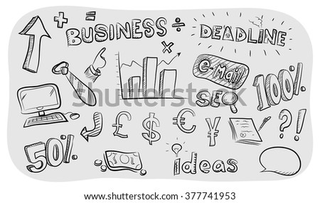 Business Theme Doodle Set, a hand drawn business theme vector doodle set, isolated on simple grey background (editable). - stock vector