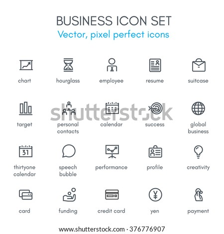 Business theme line icon set. Pixel perfect fully editable vector icon set suitable for websites, info graphics and print media.   - stock vector