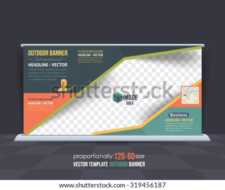 Business Theme Outdoor Banner Template, Advertising Vector Design - stock vector