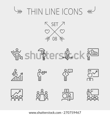 Business thin line icon set for web and mobile. Set includes- people, wifi, arrows, money, umbrella icons. Modern minimalistic flat design. Vector dark grey icon on light grey background. - stock vector