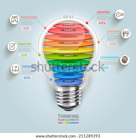 Business thinking timeline. Lightbulb with icons. Can be used for workflow layout, banner, diagram, web design, infographic template. - stock vector