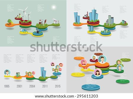 Business Time line infographic set. Vector illustration - stock vector