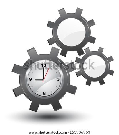 Business time management, clock with cogwheels, vector, - stock vector