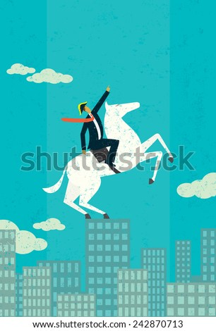 Business Titan A business leader, looking Napoleon-esque on his white horse, points upward on top of a city skyline. The man & horse and background are on separately labeled layers. - stock vector