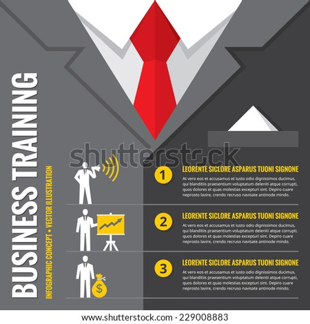 Business training - infographic vector illustration. Business man - infographic vector concept. Office suits infographic concept. Recruitment infographic concept. Design elements. - stock vector
