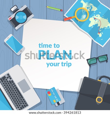 Business travel background. Easy to edit design template. Vector illustration. - stock vector