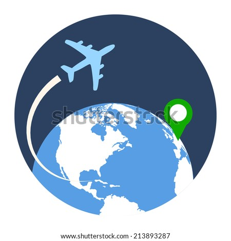 Business Travel Icon. Flat style illustration. Isolated in colored circle on white background.  - stock vector