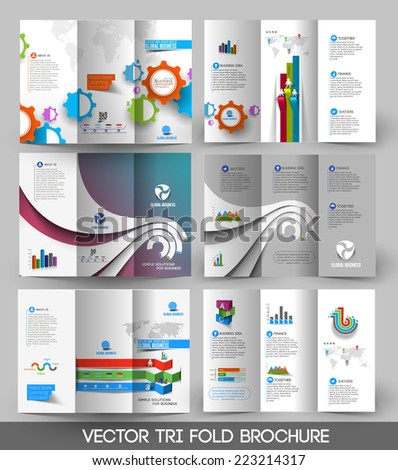business Tri-fold Brochure Design Bundle. - stock vector