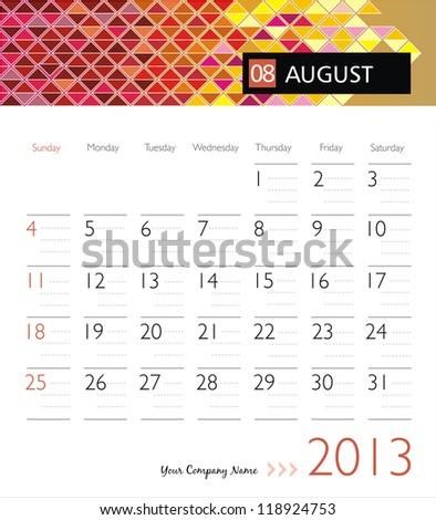 Business vector calendar 2013. August - stock vector