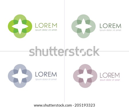 Business Vector Icons. Abstract symbol of life, energy, tranquility, stability, confidence, care. Brand visualization template. Logo template. Cosmetic labeling, medical / technology icons. Editable. - stock vector
