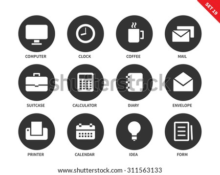 Business vector icons set. Marketing and management tools, office equipment, computer, clock, coffee, mail, suitcase, calculator, diary, envelope, printer and calendar. Isolated on white background - stock vector