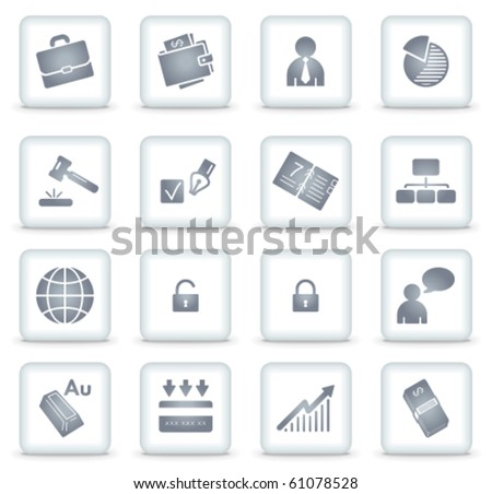 Business vector web icons, white square buttons - stock vector