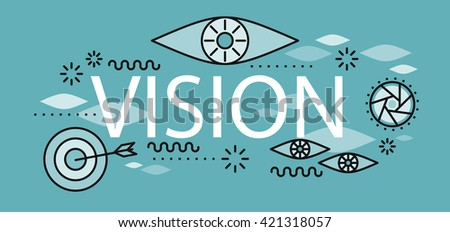 Business vision banner concept. Conceptual abstract poster on the theme of vision and business goal of hitting the target in a flat style design. Banner with element and text. Vector illustration - stock vector
