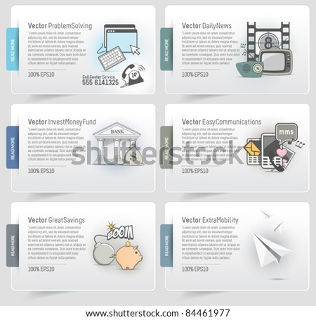 Business web boxes with icons - stock vector