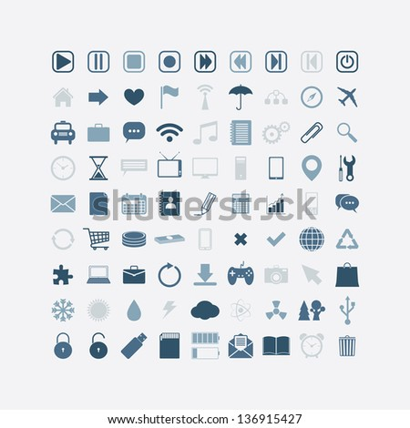 Business, web, mobil media icons. set of 81. vector eps8 - stock vector