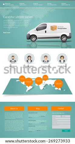 Business Website Design Template Vector illustration. One page style. - stock vector