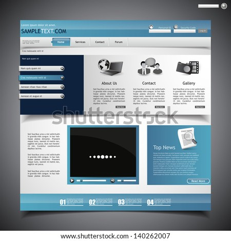 business website design template with videoplayer - stock vector