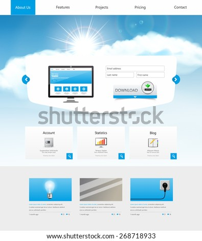 Business Website Template Design, with sky and sunrise background, vector illustration. - stock vector