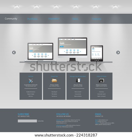 Business Website template, /Gallery Theme/  - stock vector