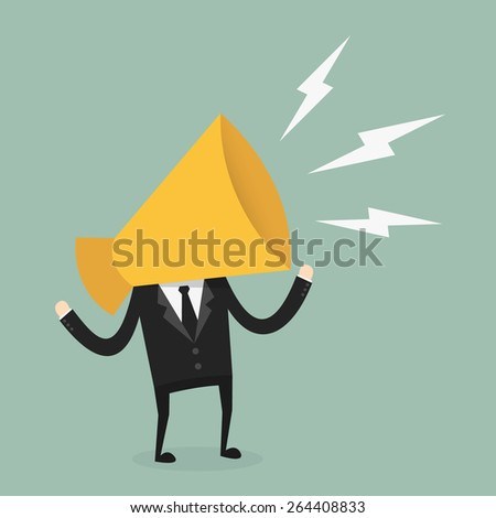Business with megaphone head - stock vector