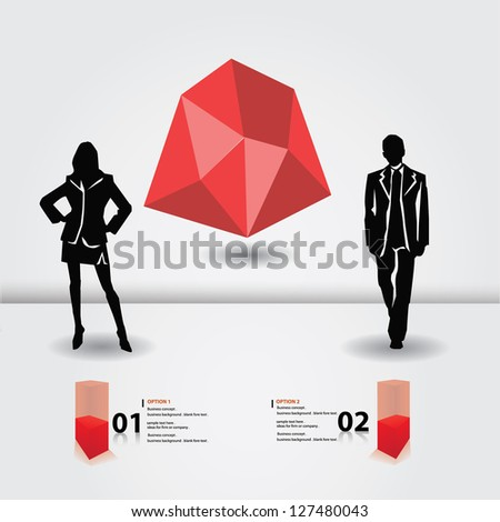 Business woman and business man,blank for text,vector - stock vector