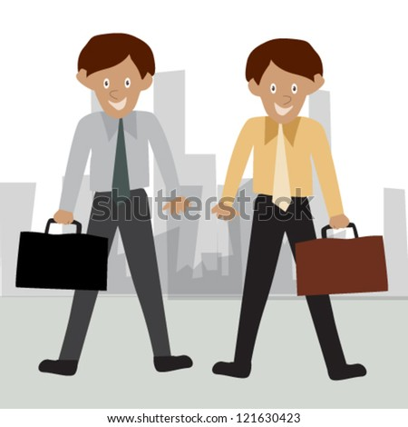 Business woman and man in office - stock vector
