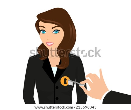 Business woman and managers hand holding a key.  Isolated on white - stock vector