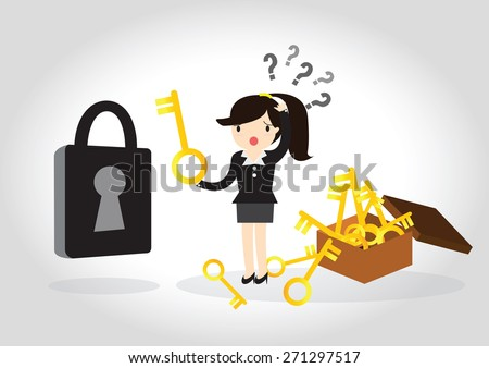 Business woman are confused to find the key to open the lock. - stock vector