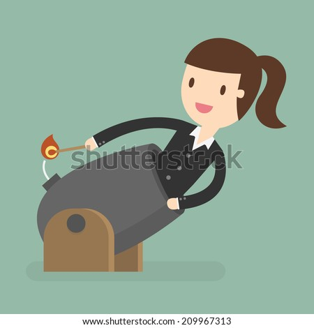 Business Woman Cannonball. Leadership Concept - stock vector