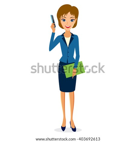 Business woman character vector. Cheerful smiling business woman character with smart phone. Woman business character isolated on white background - stock vector