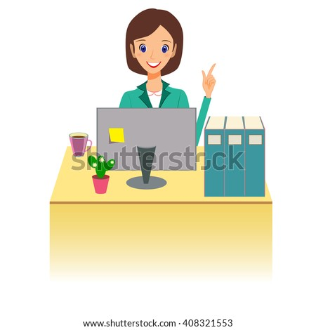 Business woman character vector. Cheerful smiling cartoon female character working at the desk and gesturing for attention. Isolated on white background - stock vector