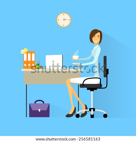 business woman drink coffee sitting at desk in office working laptop computer flat vector illustration - stock vector