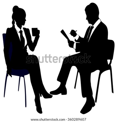 business woman drinking coffee or tea while business man working  - stock vector