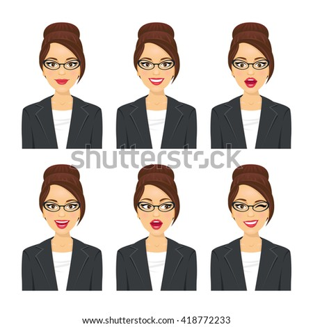 Business woman face. Various expressions set. Vector cartoon character on white background. - stock vector