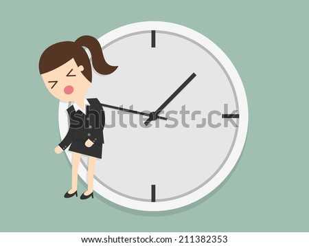 Business woman hangs on an arrow of clock - stock vector