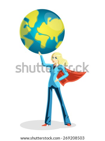 Business woman holding world globe. Person and global girl in cloak, vector illustration - stock vector