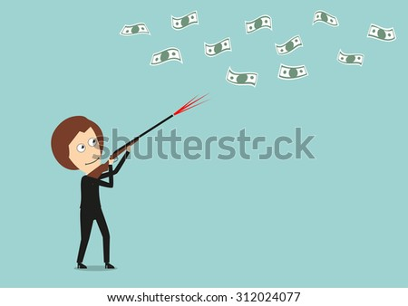 Business woman hunts for flying money with hunting rifle, for financial concept design. Cartoon flat style - stock vector