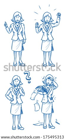 Business woman illustration in different emotions and poses, hand drawn sketch vector illustration, part 3 - stock vector