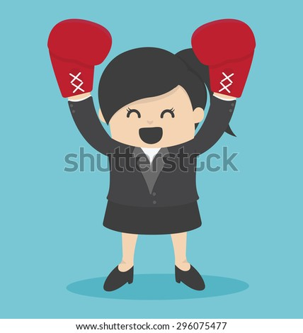 Business Woman in a suit and boxing gloves - stock vector