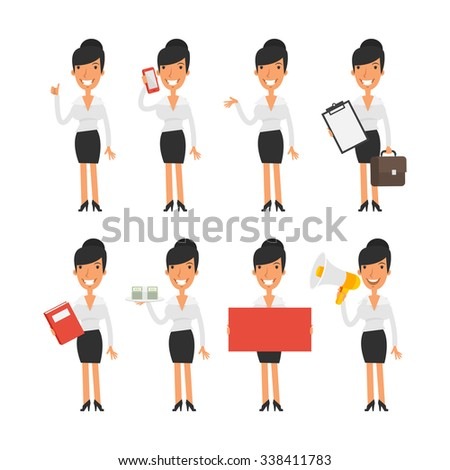 Business woman in different poses - stock vector