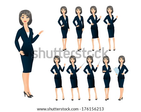 Business woman in various poses - stock vector