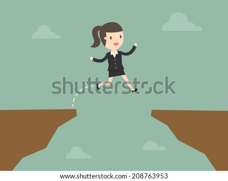 business woman jump through the gap - stock vector
