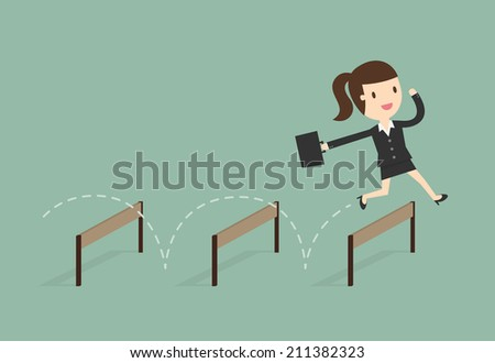 Business woman Jumping Over Hurdle - stock vector