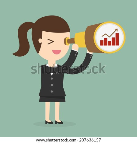 Business woman looking the future - stock vector