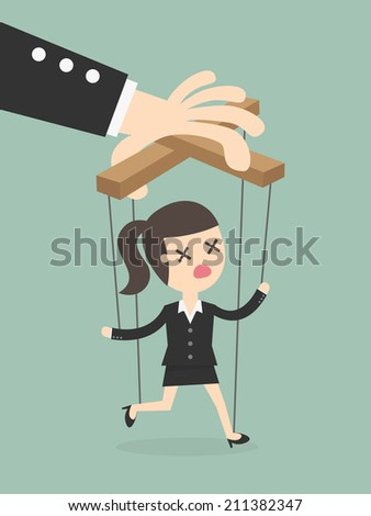 Business woman marionette on ropes controlled hand - stock vector