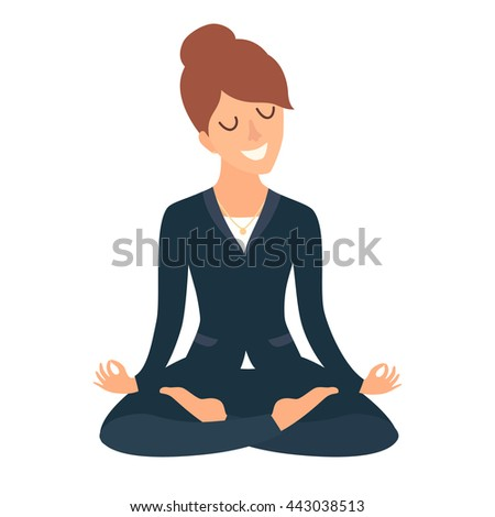 Business woman meditating. Concept of calm business, work at office. Happy worker. Woman in yoga pose, lotus position. Cartoon style vector illustration isolated on white background - stock vector