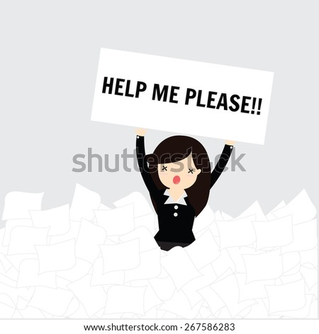 Business woman need help under a lot of white paper - stock vector